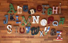 Vintage+Sports+Alphabet+Wall+Letter+Set+ABC's www.funkyletterboutique.com | kids décor |