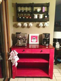 upcycled cabinet  for my kitchen coffee station.