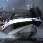 A Sunseeker Superhawk 34 sped down London's River Thames at over 60 mph in the longest-ever Bond pre-title sequence in The World is Not Enough. Bond, in his Q-boat, chases the Sunseeker that is being driven by assassin Giulietta da Vinci (played by Maria Grazia Cucinotta).