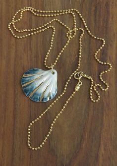 porcelain jewelry, beach necklace, mermaid necklace, porcelain necklace, shell necklaces, mothers day, ocean necklace, nautical necklace
