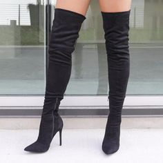 d81f8ed2fcb Crush Hard Faux Suede Thigh-High Boots NUDE