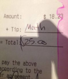 English teacher tipping - ha ha.