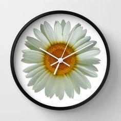 White Daisy on White Wall Clock by Paul Stickland for StrangeStore - $30.00 #strangestore #clocks