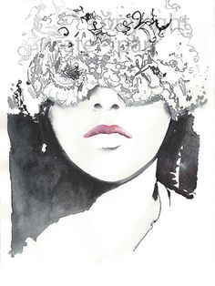 Original Ink Painting Titled: Lace ink