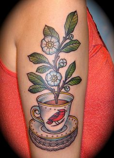 tattoo old school / traditional ink - cup of tea with flowers