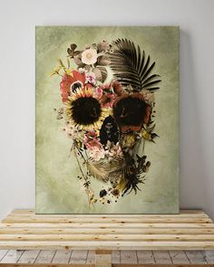 "Garden Skull Canvas Print    35 x 50 cm (13.8"" x 19.7"")  50 x 70 cm (19.7"" x  27.6"")    Photo-quality print  Stretched on wood canvas, 3 cm thick  Fade-resistant    Illustration by Ali Gulec 