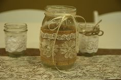 Burlap and Lace Table Runner. Rustic Chic Wedding.