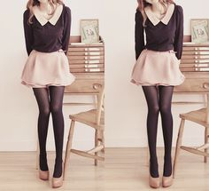Sweet pastel and black outfit                                                                                                                                                                                 Mais