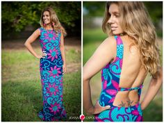 bright maxi with a skin baring back