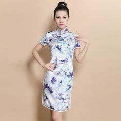 Custom Made Delightful Flowers Silk Cheongsam Qipao Dress - Qipao - Cheongsam - Women