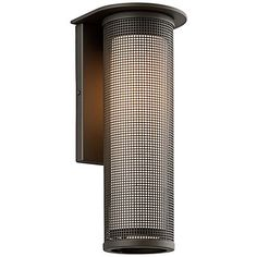 This cylindrical outdoor wall light is finished in bronze with an LED design.