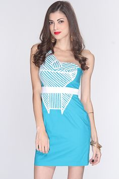 Go for a classy yet sexy look in this stylish dress! Pair it with your favorite heels and accessories for a complete look! Youll sure be the hit of the night when you step out in this dress! It features one shoulder strap, crochet trim, two tone, side zipper closure, and fitted. 100% Polyester.