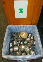 Literacy Work Station #3: matching upper and lower case rock alphabet in order from A - Z.