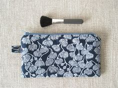 Australian travel pouch blue pencil case floral by greylittlemouse