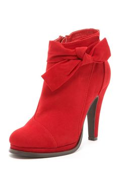 red bootie. This would be super cute with a black dress and black tights for a holiday party