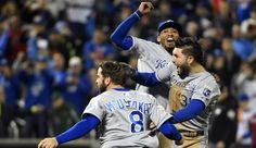 Royals win World Series after yet another comeback  -  Sports Xchange November 01, 2015 at 11:44 pm. -   Nov 1, 2015; New York City, NY, USA; Kansas City Royals players Mike Moustakas (8) , Eric Hosmer (35) and Alcides Escobar (2) celebrate after defeating the New York Mets in game five of the World Series at Citi Field. The Royals won the World Series four games to one. Mandatory Credit: Robert Deutsch-USA TODAY Sports