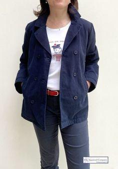 Navy Stripes, Navy Blue, Breton Shirt, Sailor Shirt, Canvas Jacket, Nautical Fashion, Striped Fabrics, Navy Women, Double Breasted