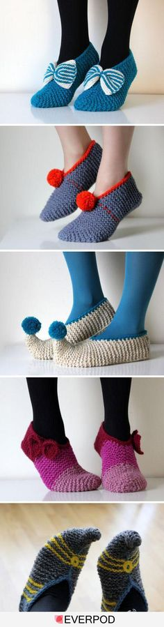 There are some really cute and suggly looking slippers out there. I would love to make a pair of crocheted slippers or knitted woolen bed . Knitted Slippers, Crochet Slippers, Diy Crochet, Crochet Crafts, Knitting Projects, Crochet Projects, Diy Projects, Knitting Patterns, Crochet Patterns