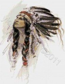 Free Native American Cross Stitch | Indian feathers native american cross stitch | Yiotas XStitch