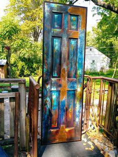 colorfully painted modern vintage wooden vintage door, hanging door, track and pulley door, Hand Painted Furniture, Funky Furniture, Paint Furniture, Furniture Makeover, Wooden Furniture, Barn Style Doors, Cool Doors, Vintage Doors, Boho Home
