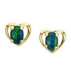 AUSTRALIA OPAL - Gold Heart Opal Earrings (E3400GB), $106.00 (http://www.australiaopal.com.au/opal-earrings-e3400gb/)
