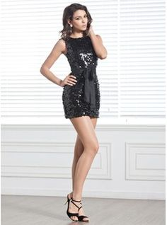 Sheath/Column Scoop Neck Short/Mini Bow(s) Zipper Up Regular Straps Sleeveless No 2014 Black Spring Summer Fall General Sequined Cocktail Dress