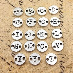 10mm antique silver A-Z full set 26 letters charm by rosediy2015