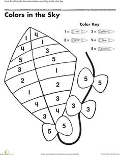Preschool Colors Counting & Numbers Color by Number Worksheets: Color by Number: Kite