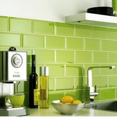 metro lime green wall tiles   200mm x 100mm more pics of this kitchen on link  our apple green kitchen apple      rh   pinterest com