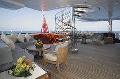 Anastasia's outside deck provides shade and comfort. #yachtInteriors - Seatech Marine Products & Daily Watermakers