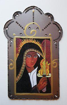 Archangel Uriel,  Holding the Flaming Sword, Angel of Divine Justice, Mixed Media Steel Collage, Christina Miller artist on Etsy, $20.00