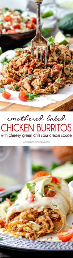 Slow Cooker: Smothered Baked Chicken Burritos - Carlsbad Cravin...