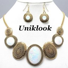 Chunky Vintage Antique Gold & White Nacre Look Decorative Necklace Earrings Set