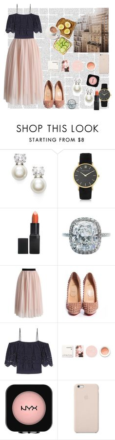 """""""My First Polyvore Outfit"""" by iamnikkifan ❤ liked on Polyvore featuring Judith Jack, Larsson & Jennings, Barry M, Harry Winston, Chicwish, Christian Louboutin, Ganni, Korres, NYX and Black Apple"""