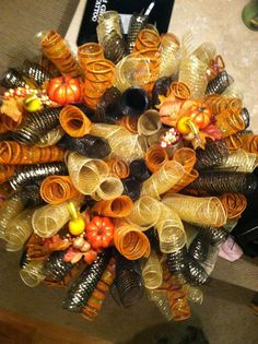 Fall deco mesh wreath by CampgroundCreations on Etsy, $65.00