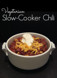 Simple vegetarian crock pot chili recipe - can be made with or without meat. YUM!