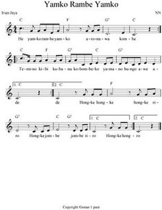 music sheet of Papua-Indonesia