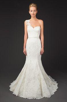 One shoulder lace wedding dress. Winnie couture, Fall 2014 #weddingdream123
