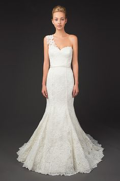 One shoulder lace wedding dress. Winnie couture, Fall 2014
