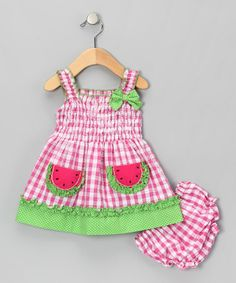 Take a look at this Pink Watermelon Sundress - Infant & Toddler by Samara on #zulily today!