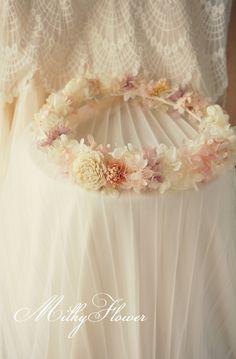 ふわふわな花冠 * ホワイト×ピンク×パープル  ウェディング&フラワーリースのMilkyFlower* Ameba (アメーバ)