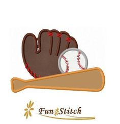 Baseball sports applique machine embroidery design by FunStitch, $2.69