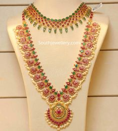 Ruby emerald necklace and long Haram photo – ruby jewelry Gold Bangles Design, Gold Earrings Designs, Gold Jewellery Design, Gold Haram Designs, Bridal Jewellery, Necklace Designs, Ruby Jewelry, Gold Jewelry, Jewelry Necklaces