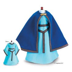 "Carpatina French Princess Medieval Dress and Blue Velvet Cloak fits 18"" American Girl Dolls"