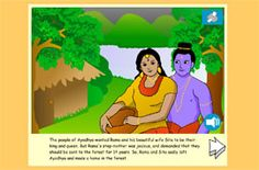 The story of Rama and Sita - a popular Hindu story to tell about the first Diwali. Simple text and full sound support, with beautiful illustrations and animated pages. Diwali For Kids, Diwali Craft, Diwali Rangoli, Diwali Celebration, Celebration Around The World, Diwali Eyfs, Diwali Story, Philosophy For Children, Early Years Teaching