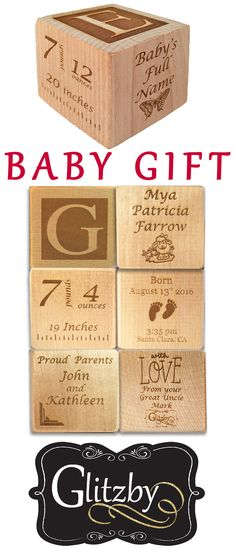 You know someone who would love this! Buy or RePin Now! Personalized Baby Block New Birth Announcement Custom Engraved Wooden Baby Block for Newborn Boys and Girls Enjoy the Birth of your little bundle of joy with family and friends with our unique personalized baby birth announcement. Baby Block Made with sustainable wood, makes the perfect baby gift. This fully customizable wooden block allow you to show off your precious newborn with your families. by Glitzby