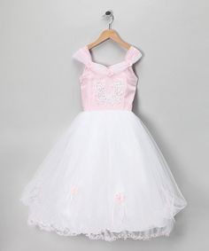 Take a look at this White & Pink Beaded Flower Dress - Toddler & Girls by Tip Top Kids on #zulily today!