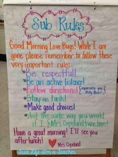 """Sub Rules Anchor Chart. Love the idea of leaving a """"love note"""" to students with a friendly reminder of the class rules."""