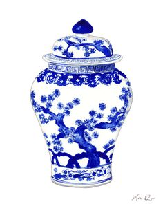 Blue and White Ginger Jar Vase No. 10 - Giclee Print of Watercolor - Home Decor Porcelain Chinoiserie Chinese Antique Ceramics Ming Vase