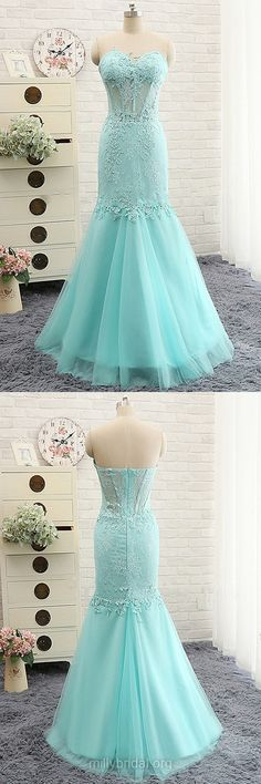 Fashion Blue Prom Dresses, Sweetheart Lace Trumpet/Mermaid Prom Dresses, Modest Long Prom Dresses